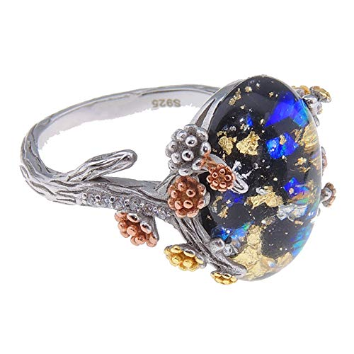 Henrietta Simulated Fire Opal Arco Stone Ring For Women By Ginger Lyne Tree Branch Flower Black Sterling Silver Elven Promise Ring For Teen Girls Engagement
