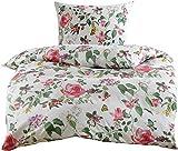 Mako Satin Blumen Bettwäsche mit Vögeln und Schmetterlingen weiß 155x220 + 80x80 100% Baumwolle