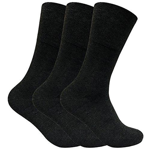 Sock Snob 3 paia uomo senza elastico calzini diabetici invernalii termici per la circolazione in 2 colori (39-45 eur, THRDIAM01)