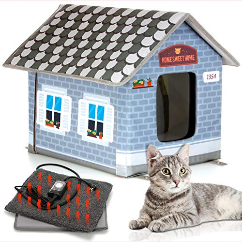 PETYELLA Heated cat Houses for Outdoor Cats in Winter - Heated Outdoor cat House Weatherproof -...