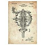 artboxONE Poster 60x40 cm Automobile Auto Getriebe (Antik) hochwertiger Design Kunstdruck - Bild Retro Getriebe Motor