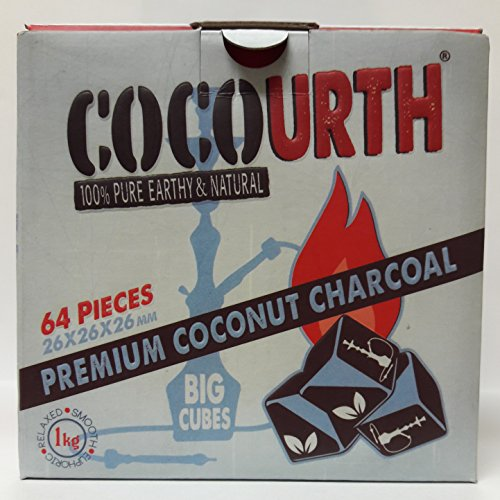 Hookah Natural Coconut Charcoal 64 Pieces Big Cubes Coco Urth 1 Kilo Shisha Coal