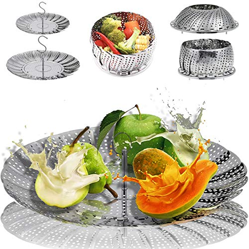 2-Pack Steamer for Cooking Vegetable Steamer Basket for Instant Pot Stainless Steel Metal Veggie Steamer for Food Collapsible Steamer Insert Steamer Rack, Veg Steamer Tray, Large and Small Size