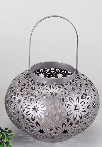 formano Windlicht Kugel Tesini Metall Blume Ornament 616913 Laterne Leuchter braun Silber Metallwindlicht Metall-Windlicht