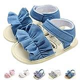 Summer Infant Baby Girls Sandals Striped Bowknot Soft Rubber Sole First Walker Shoes Anti-Slip Summer Sandals Tassel Golden Infant 6-12 Months nt 12cm