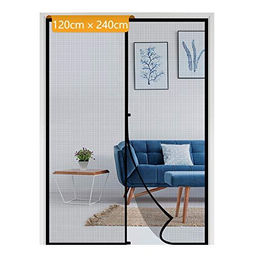 Yotache Fliegengitter Tür 120x240cm Automatisches Schließen Türnetz für Wohnzimmer Kellertür Klebemontage ohne Bohren Schwarz