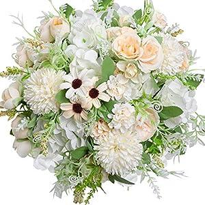 Silk Flower Arrangements Nubry 3pcs Artificial Flowers Bouquet Fake Peony Silk Hydrangea Wildflowers Arrangements with Stems for Wedding Home Centerpieces Decor (White)