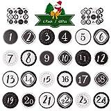 Kesote 2 x 24 Adventskalender Zahlen Aufkleber Weihnachtskalender Sticker zum Basteln Kinder Weihnachten Etiketten Schwarz Weiß (4cm)