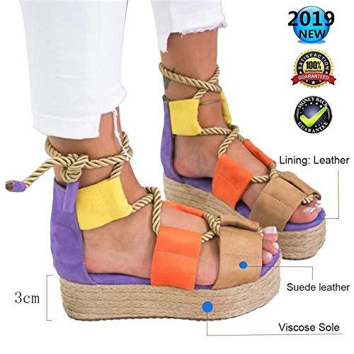 Sandals dames zomer espadrilles hoog, Wedges Peep Toe Plateau wighak Elegant Comfortabele enkelriem gesp wigsandalen vlak leer casual schoenen 3 cm hoge hak lila