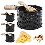 Eariy 1/2/4 piezas de queso a la parrilla, portátil, mini parrilla lenta con una pala de madera, pan de mantequilla de queso de calentamiento rápido, apto para picnic, fiesta, jardín, barbacoa