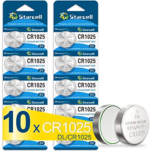 10 x CR1025 3 V Lithium Button Cell 3 mAh (Blister Ercard 5 Batteries Pack of 10)