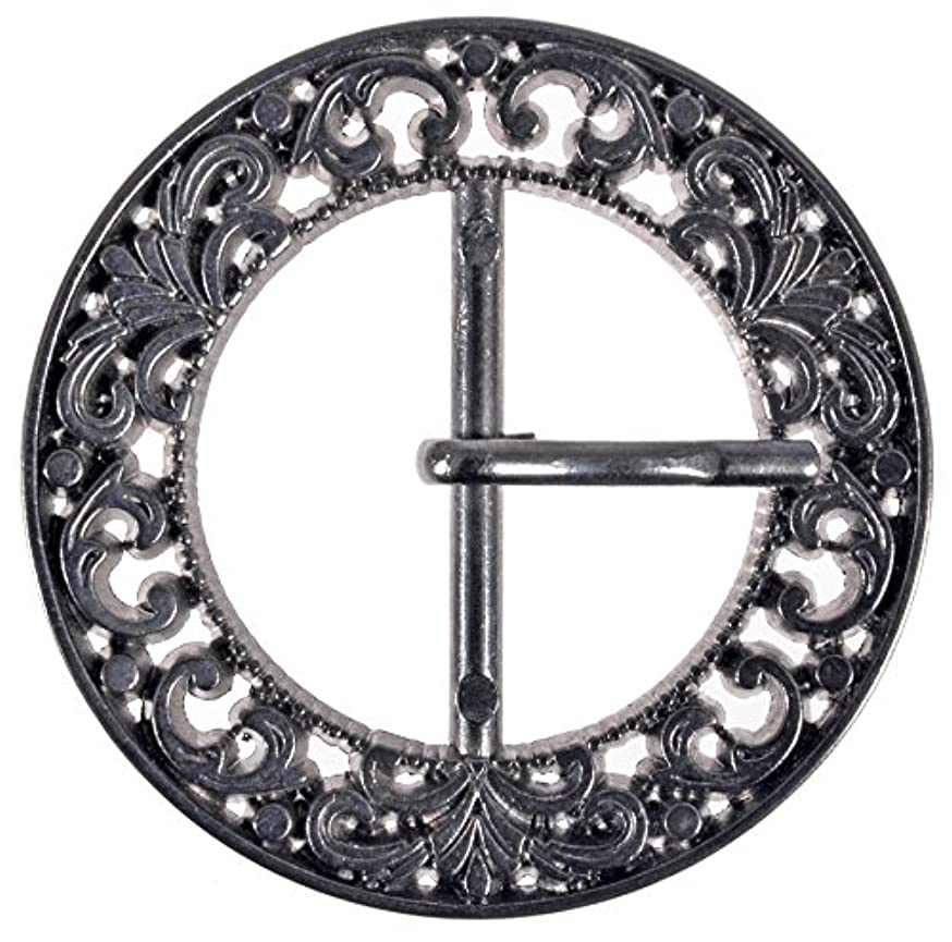 Zinc Diecasted Buckle with Prong - Filigree Design - 50mm in Diameter -30mm Inside Center Bar - Gunmetal