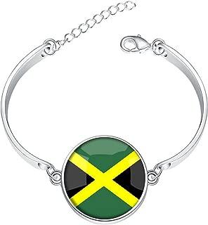 DOME-SPACE Adjustable Silver Bracelets New Zealand National Flag Hand Chain Link Bracelet Clear Bangle Custom Glass Cabochon Charm