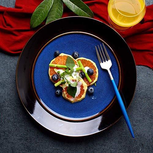 Plato de porcelana, cuenco de cerámica de estilo japonés, cuenco de cerámica azul para ensalada de frutas, vajilla japonesa, plato redondo grande para el hogar, plato de carne, plato de cena, plato de
