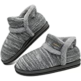 KuaiLu Womens Fuzzy Arch Support Boot Slippers Ladies Cozy Memory Foam Warm Bootie Slippers Furry Sheepskin Winter Slipper Boots Home Slippers Non-Slip Indoor Outdoor Hard Sole Grey Size 8