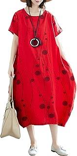 Women Cotton Linen Dress Casual Loose Short Sleeves Dot Print Plus Size Baggy Midi Dress