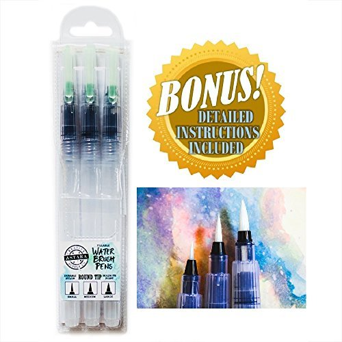 ASTARA PREMIUM WATER BRUSH PEN SET - 3 Assorted ROUND Artist Fude Pens +TravelCase - IDEAL WATERBRUSH for Watercolor Paint, Pencils, Markers, Brush Lettering - A MUST For Your Artist Travel Kit!