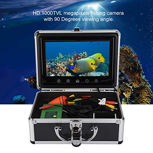 ASHATA Cámara de Pesca, 9inches TFT Color Monitor Buscador de Peces Cámara de Pesca submarina con Estuche, 30 LED 1000TVL Buscador de Peces para Pesca en mar/río 30m(EU. Plug)