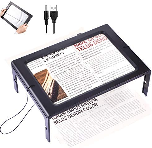 Rectangular Page Magnifier with 12 LED Lights 3X Magnifying Glass Folding and Hands Free Led product image