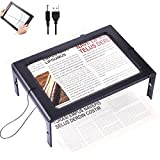 Rectangular Page Magnifier with 12 LED Lights 3X Magnifying Glass Folding and Hands-Free Led Full-Page Magnifier with Dual Power Mode for Elder, Low Vision People to Read Small Prints