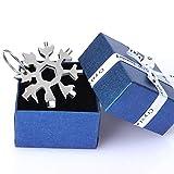 Sinwind 18-in-1 Snowflake Multi Attrezzo, Chiave per Fiocco di Neve in Acciaio Inossidabile, Multi Attrezzo in Acciaio Portatile, Regali Natale, Gadget Idee Regalo Uomo (Scatola regalo argento)