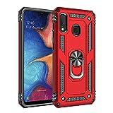 Max Power Digital Funda para móvil Samsung Galaxy A20e Anillo Giratorio 360 Metálico Imán Magnético Carcasa Rígida Antigolpes Resistente Soporte Bumper Case (Samsung Galaxy A20e, Rojo)