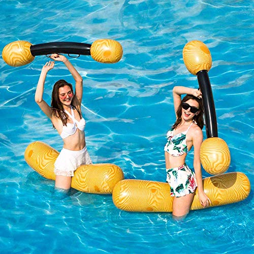 YQYL 2 sets of inflatable floating row toys wood grain mounted floating row water play games inflatable raft drifting toys