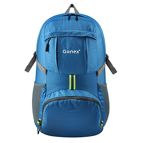 Gonex 35L Lightweight Packable Backpack Handy Foldable Shoulder Bag Daypack (Blue)