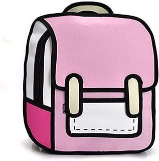 3D Style 2D Drawing Cartoon Bag Comic 3D Shoulders Bag Backpack (Pink)
