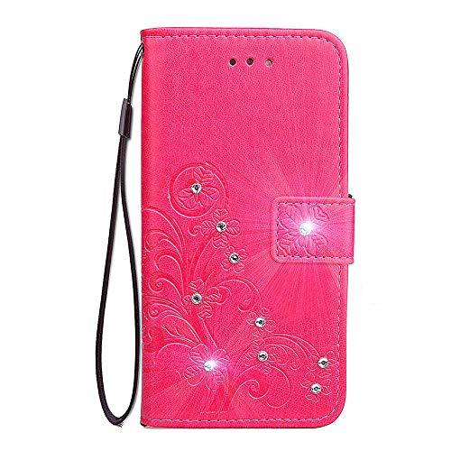 Unichthy Samsung Galaxy Z Fold 2 5G Hülle für Mädchen Glitzer Sparkle Bling Handyhülle 3D Gems Kleeblatt Stoßfest Leder Wallet Flip Schutzhülle Ständer Kartenfächer für Samsung S30 Ultra - Deep Pink