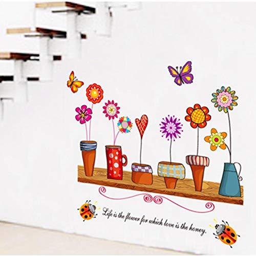 N / A Bloempot verven PVC-muursticker, eenvoudig te plakken, decoratieve muurfoto kunststicker, wooncultuur, verfraai de kleur, mooi cadeau