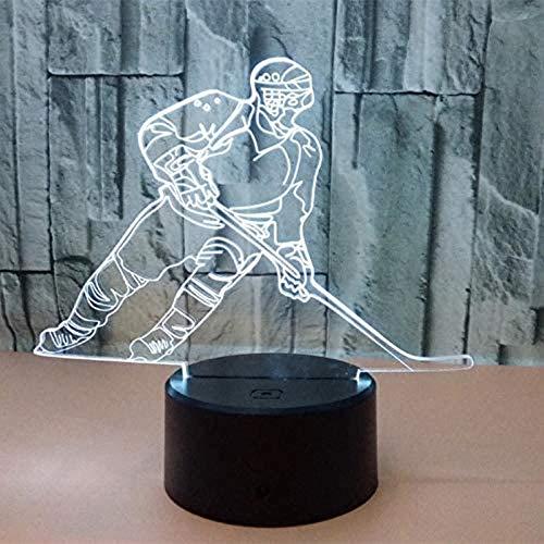 Bunte Berührung 3D LED Nachtlicht Hockey Lampe USB Illusion Atmosphäre Tischlampe für Kinder Baby Kinder Geschenk Nacht Schlafzimmer