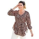 VENCA Blusa de Escote Redondeado Mujer by Vencastyle - 008374,Estampado MARRÓN/Crudo,4XL