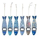 CAPRILO. Lote de 6 Decorativos Abridores de Madera Colgantes Peces Multicolores Surtidos. Recuerdos. Destapadores. Regalos Originales.Detalles de Bodas, Comuniones, Bautizos, Cumpleaños.