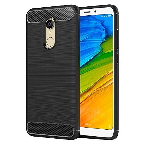 MaiJin Funda para Xiaomi Redmi 5 (5,7 Pulgadas) TPU Silicona Carcasa Fundas Protectora con Shock Absorción y Diseño de Fibra de Carbon (Negro)