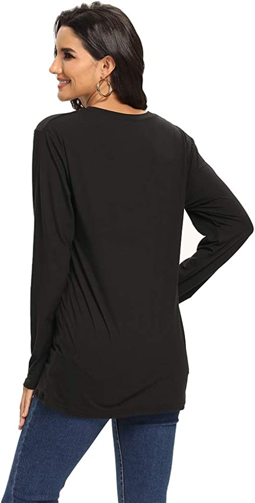Crew Neck Casual Sport Tunic Tops with Pockets for Hiking Running Womens Long Sleeve Shirts