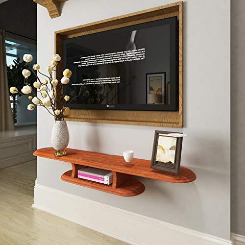Zwevend wandrek, tv-kast set top box router wifi dvd-speler rek voor het opbergen van speeltoestellen, 120cm, roodbruin