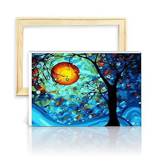 decalmile Pintura por Número de Kits DIY Pintura al óleo para Adultos Niños Dream Tree de Van Gogh 16'X 20' (40 x 50 cm, Marco de Madera)