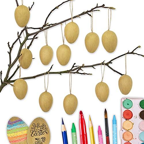 Papierdrachen 12 braune Ostereier aus Pappmaché   Klassische Osterdekoration für Zweige und Ostergestecke   Eier zum Bemalen und Beschriften 4x6 cm   Ostern 2021