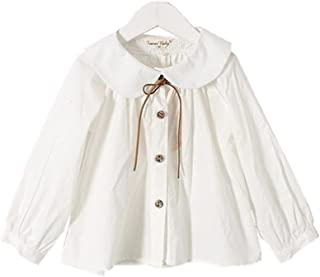 6ae618bc6 YOBEBE Kids Girl White Blouse Peter pan Collar Long Sleeves Shirt School  Clothes 3-7T