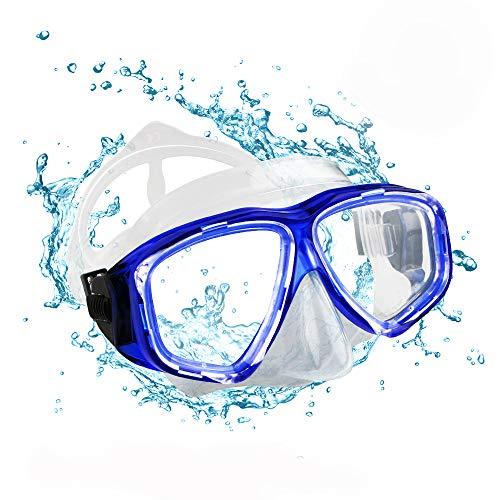 opamoo Taucherbrille Erwachsene Schwimmbrille Anti Fog Ohne Leakage Schnorchelbrille UV Schutz 180° Weitsicht Einfach zu anpassen Tauchmaske für Damen und Herren (Blau)