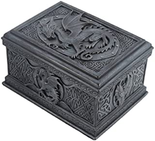 US 5.75 Inch Celtic Dragon Textured Decorative Trinket Box, Black
