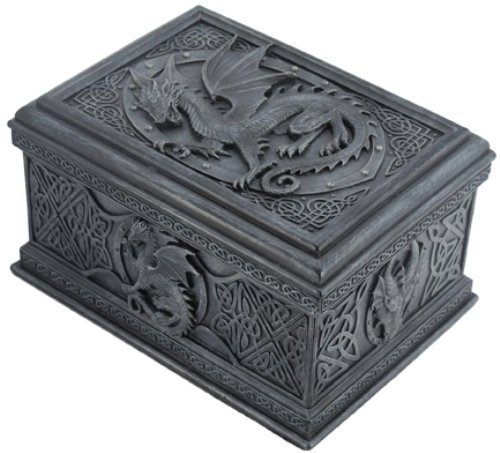 US 5.75 Inch Celtic Dragon Textured Decorative Trinket Box, Black