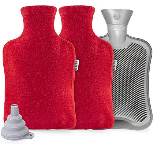 Wärmflasche mit Bezug 2 Liter, Anstore Wärmeflasche Set Weich Wärmflasche Groß Kinder Wärmflaschen für Nacken und Schulter, Bettflasche, Nackenwärmflasche, Rot
