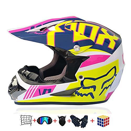 Casco Moto niño,Casco Motocross niño Moto Set con Gafas/Máscara/Guantes Casco Motocross (6unidades) Apto para Cuatro Estaciones (B, 55-56CM)