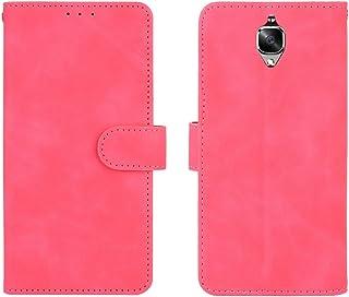 電話ケース OnePlus 3 / 3T、PUレザーウォレットケースOnePlus 3 / 3Tのためのクレジットカードホルダーのリストストラップの耐衝撃保護カバー (Color : Rose red)