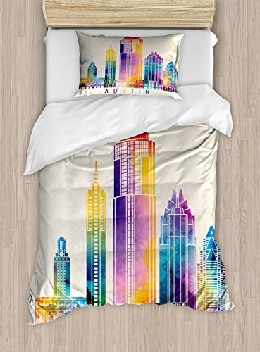ABAKUHAUS Austin Duvet Cover Set, Outlined Monuments Skylines of Texas Blended Rainbow Watercolor Ink Splatter Art, Bedding Set 2 Pieces with 1 Pillow Sham, Single UK Size, Multicolor