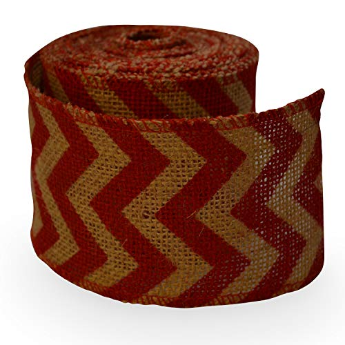 Firefly Craft Red Chevron Burlap Ribbon, 10 yards by 3 inches