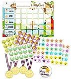 Tabla de recompensas para entrenamiento de orinal, tabla de entrenamiento para niños y niños con pegatinas insignia medallas rojo Selva