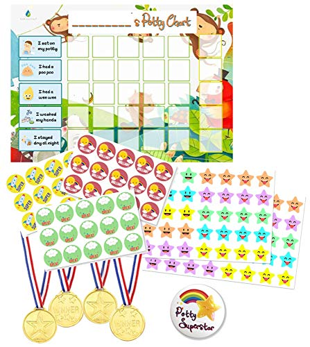 Potty Training Reward Chart - Toilet Training Star Chart for Toddlers Boys & Girls with 140+ Stickers, Reward Medals, Big Completion Badge by Flair Essentials